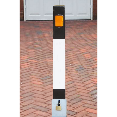 <u><strong>NBL/965 Square Heavy Duty Lift Out Black & White Bollard</strong></u>